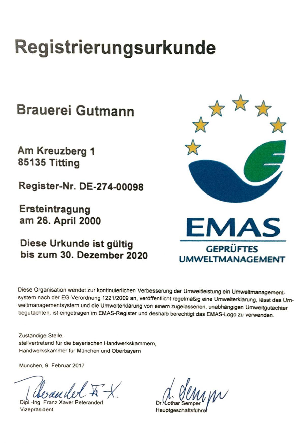 EMAS Urkunde