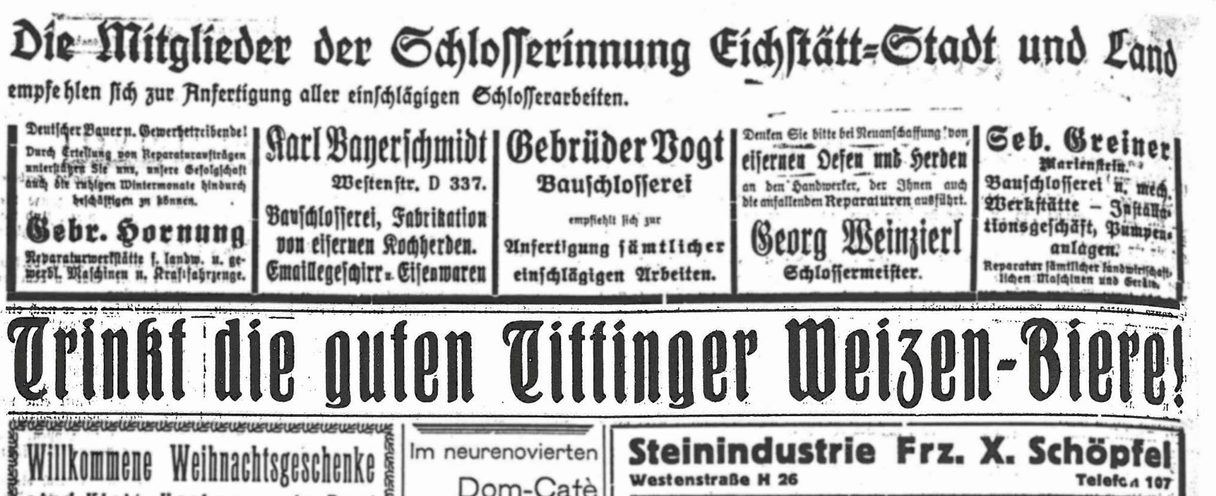 Historische Zeitungsanzeige